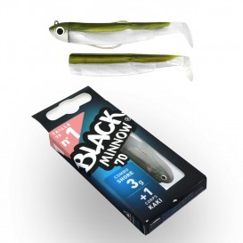 LEURRE SOUPLE COMBO SHORE BLACK MINNOW 70 + TETE PLOMBEE SHORE